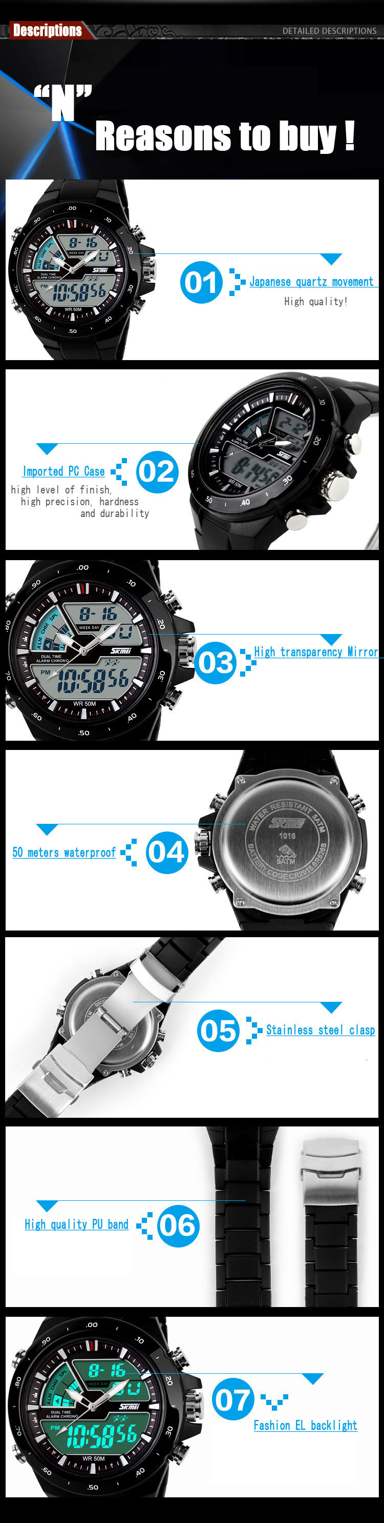 Чоловічий годинник SKMEI водонепроникний, спортивний стиль, Dual Time G-shock